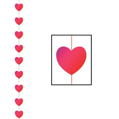 Club Pack of 12 Valentine Themed Red Heart Stringer Hanging Party Decorations 6.5' - IMAGE 1