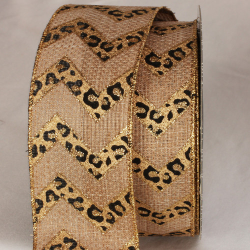 "Gold and Black Cheetah Design Wired Craft Ribbon 2"".5 x 20 Yards - IMAGE 1"
