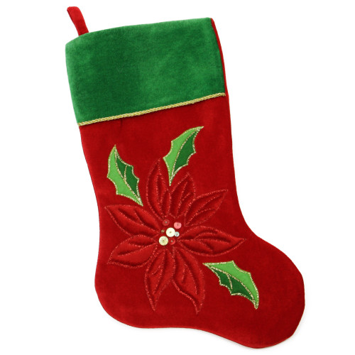 """20"""" Red and Green Velveteen Sequined Poinsettia Christmas Stocking - IMAGE 1"""