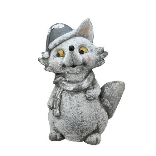 """18"""" Snow Dusted Glitter Silver Fox Christmas Tabletop Decoration - IMAGE 1"""