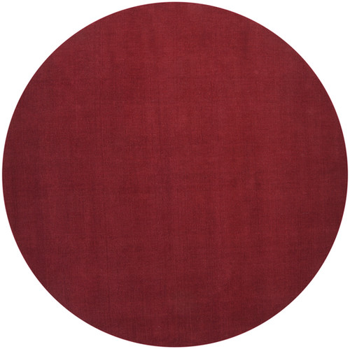 8' Brick Red Hand-Loomed Wool Round Area Throw Rug - IMAGE 1