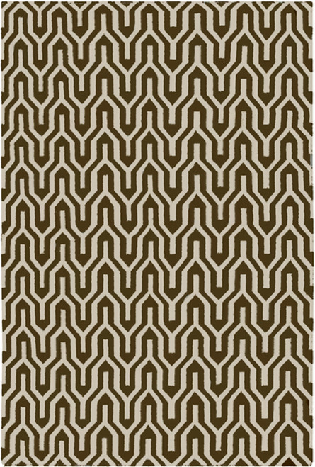5' x 8' Ivory and Olive Green Hand Woven Rectangular Wool Area Throw Rug - IMAGE 1