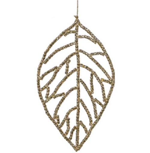 "5.5"" Gold and Amber Rhinestone Embellished Leaf Christmas Ornament - IMAGE 1"