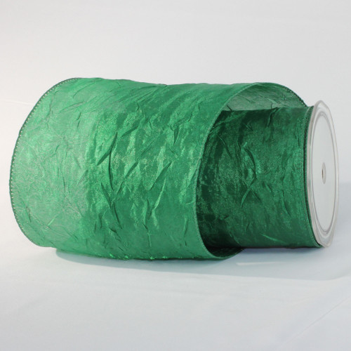"""Green Forest Crinkled Wired Craft Ribbon 6"""" x 27 Yards - IMAGE 1"""