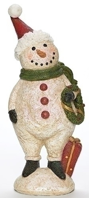 """13"""" White and Red Glittered Plumpy Christmas Snowman Figure with Wreath Tabletop - IMAGE 1"""