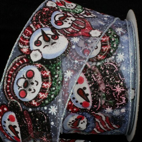 """Sheer Blue and Red Snow People Wired Craft Ribbon 2.5"""" x 20 Yards - IMAGE 1"""