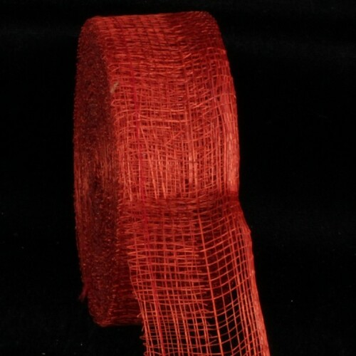 "Scarlet Red Fiber Wired Craft Ribbon 1.5"" x 96 Yards - IMAGE 1"