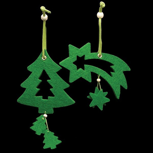 Club Pack of 18 Brilliant Green Tree And Shooting Star Felt Ornaments - IMAGE 1
