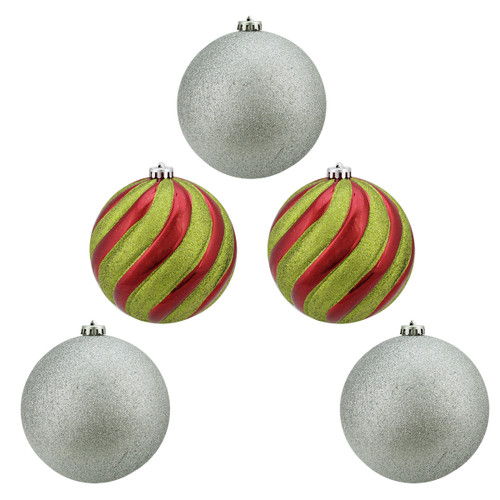 """5ct Yellow and Silver Shatterproof 2-Finish Christmas Ball Ornaments 6"""" (152mm) - IMAGE 1"""