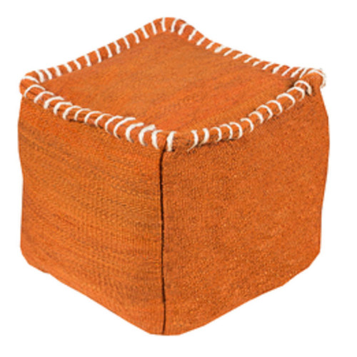 """18"""" Rust Orange and Beige Stitched Top Jute Square Pouf Ottoman - IMAGE 1"""