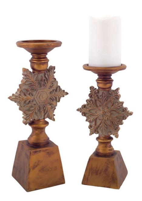 """Set of 2 Brown Snowflake Christmas Pillar Candle Holders 13"""" - IMAGE 1"""