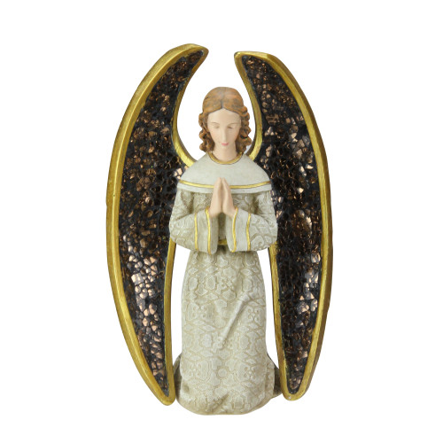 """8"""" Gold and Gray Praying Angel with Mosaic Wings Tabletop Christmas Figure - IMAGE 1"""