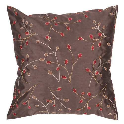 "18"" Brown and Red Contemporary Leaf Square Throw Pillow - Down Filler - IMAGE 1"