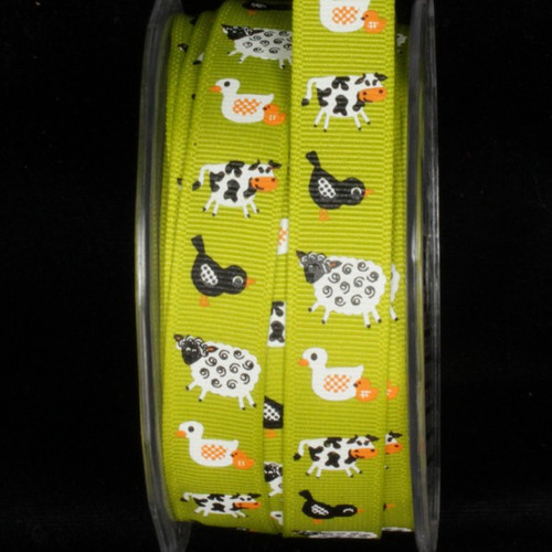 """Green and White Farm Wired Craft Ribbon 0.5"""" x 54 Yards - IMAGE 1"""