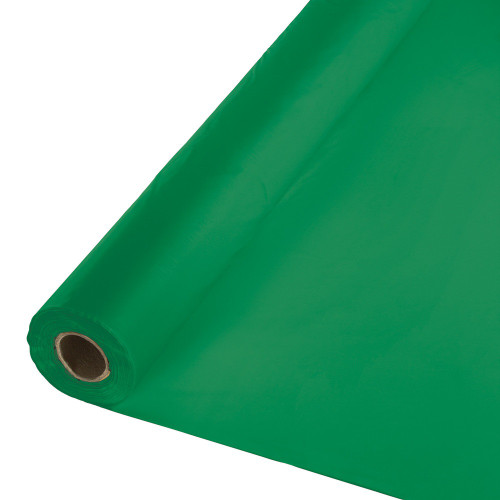 Pack of 2 Emerald Green Disposable Plastic Banquet Party Table Cloth Rolls 100' - IMAGE 1