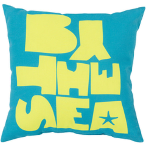 """20"""" Sky Blue and Lemon Yellow """"By the Sea"""" Square Throw Pillow Cover - IMAGE 1"""