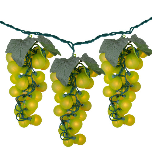 100-Count Yellow Winery Grape Patio Christmas Light Set, 5ft Green Wire - IMAGE 1