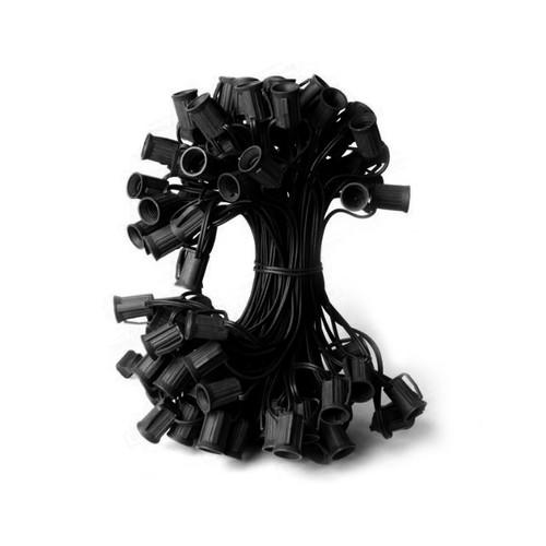 "100' Commercial C7 Christmas Light Socket Set - 12"" Spacing 18 Gauge Black Wire - IMAGE 1"