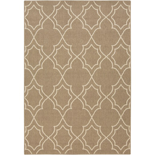 2.25' x 4.5' Brown and Beige Contemporary Machine Woven Outdoor Area Throw Rug - IMAGE 1
