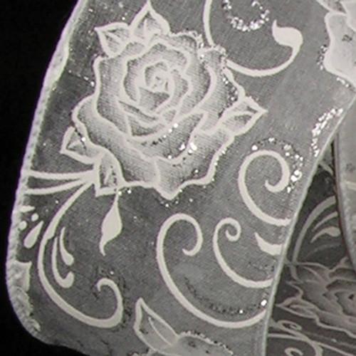 "White Roses Sheer Wired Craft Ribbon 2.5"" x 40 Yards - IMAGE 1"