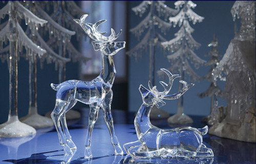 "Pack of 8 Clear Icy Crystal Standing and Sitting Christmas Deer Figurines 7.5"" - IMAGE 1"