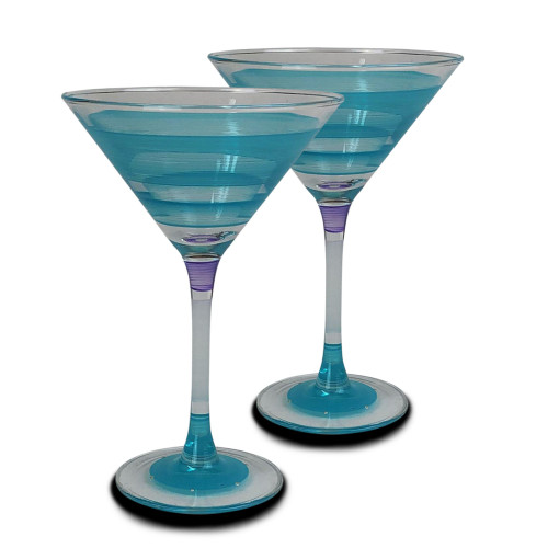 Set of 2 Blue and Clear Retro Striped Wine Glasses 12 oz. - IMAGE 1