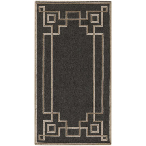 2.25' x 4.5' Charcoal Black and Cream White Shed Free Outdoor Area Throw Rug - IMAGE 1