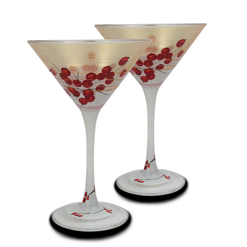 Set of 2 Gold Berries and Branches Hand Painted Martini Drinking Glasses 7.5 oz. - IMAGE 1