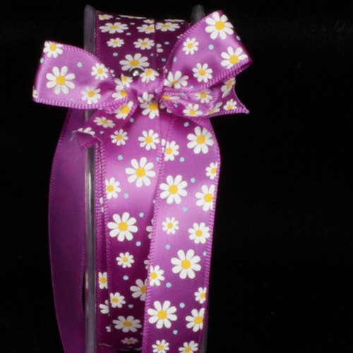 "Purple and White Inga's Flower Print Craft Ribbon 0.5"" x 108 Yards - IMAGE 1"