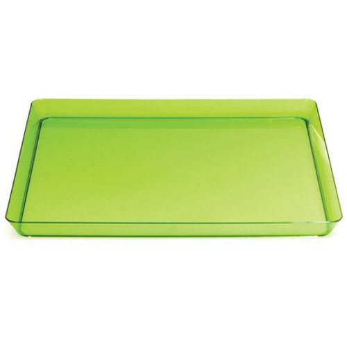 "Club Pack 12 Translucent Green Square Plastic Party Dinner Trays 11.5"" - IMAGE 1"
