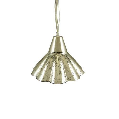 "10.5"" Mercury Glass Fluted Hanging Pendant Ceiling Lamp - IMAGE 1"