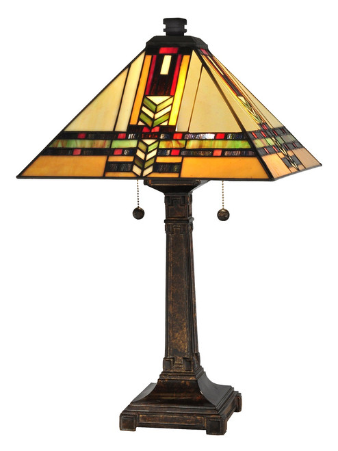 """24.5"""" Amber, Yellow and Red Fieldstone Palo Mission Hand Rolled Art Glass Table Lamp - IMAGE 1"""