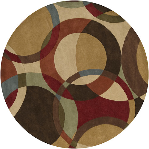6' Green and Brown Spheres Hand Tufted Round Area Throw Rug - IMAGE 1