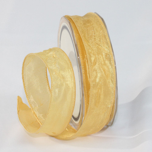 "Soft Gold Crinkled Satin Wired Craft Ribbon 1"" x 54 Yards - IMAGE 1"