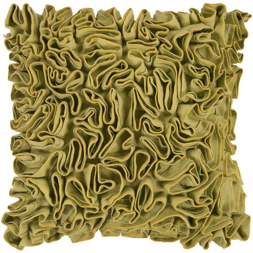 "22"" Fern Green and Citrine Yellow Dense Ruffle Decorative Throw Pillow - Down Filler - IMAGE 1"