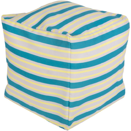 """18"""" Teal Blue, Yellow Cream and Gray Eclectic Striped Square Outdoor Patio Pouf Ottoman - IMAGE 1"""