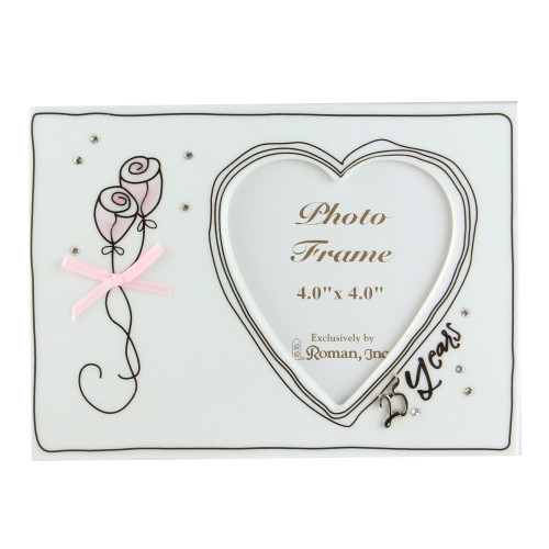 """4"""" x 4"""" Silver Color 25th Wedding Anniversary Porcelain Photo Frame - IMAGE 1"""