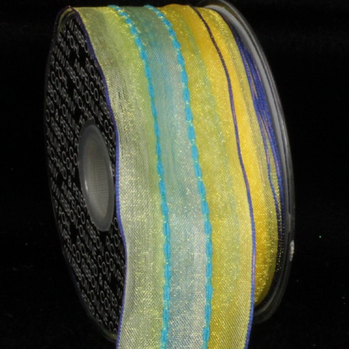 """Green and Yellow Striped Wired Craft Ribbon 1.5"""" x 54 Yards - IMAGE 1"""