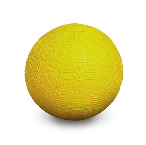 "7"" Yellow Shark Bites Grip Balls Geometric Pattern Swimming Pool Toy - IMAGE 1"