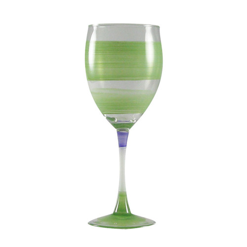 Set of 2 Green and Clear Retro Striped Wine Glasses 10.5 oz. - IMAGE 1