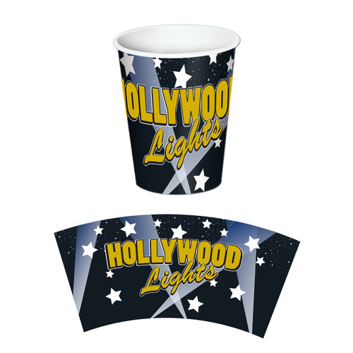 Club Pack of 96 Black and Yellow Hollywood Lights Disposable Paper Drinking Party Tumbler Cups 9 oz. - IMAGE 1