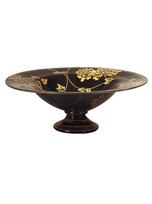 """13.75"""" Bistre, and Gold Preston Footed Decorative Hand Blown Glass Bowl - IMAGE 1"""
