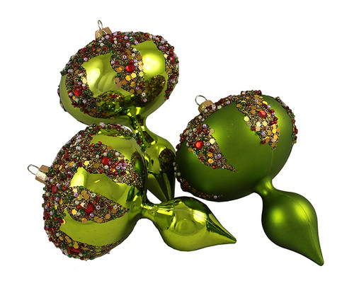"""3ct Lime Green 3-Finish Shatterproof Christmas Finial Ornaments 5"""" - IMAGE 1"""