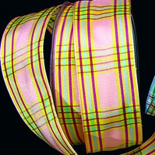 """Pink and Green Plaid Wired Craft Ribbon 1.5"""" x 27 Yards - IMAGE 1"""