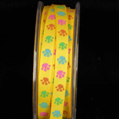 "Vibrant Yellow Inga Paws Grosgrain Craft Ribbon 3/8"" x 54 Yards - IMAGE 1"