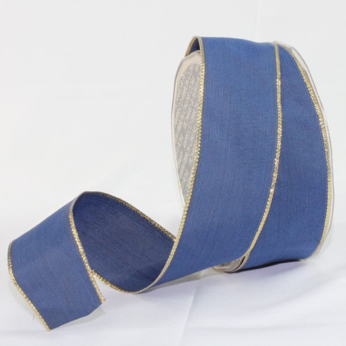 """Navy Blue and Gold Solid Wired Craft Ribbon 1.5"""" x 27 Yards - IMAGE 1"""