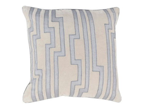 """18"""" Gray and Blue Decorative Square Throw Pillow - Down Filler - IMAGE 1"""