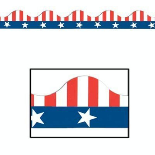 144 Red, White and Blue Stars & Stripes Bulletin Board Border Trim Signs 3.75' - IMAGE 1