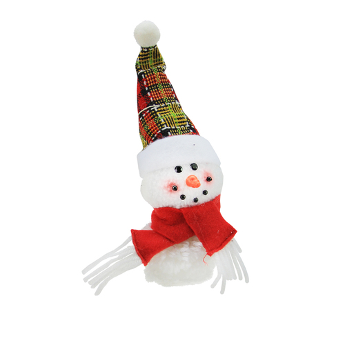 "8"" Plush Jolly Snowman with Plaid Santa Hat Decorative Christmas Ornament - IMAGE 1"