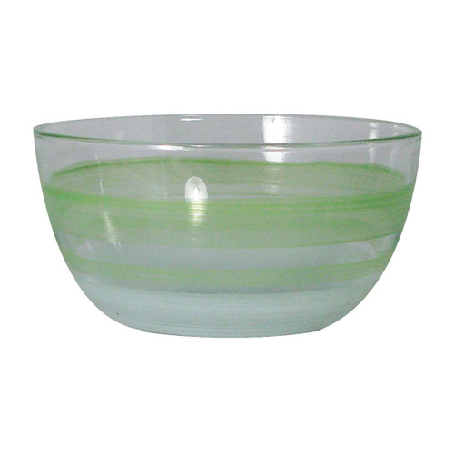 """Set of 2 Green and Clear Contemporary Retro Striped Glass Serving Bowls 6"""" - IMAGE 1"""